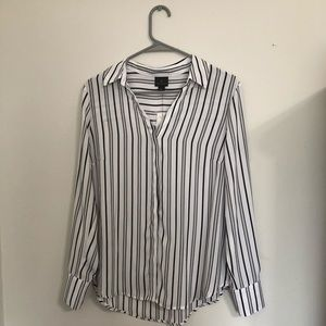 Striped Chiffon Button Up Top
